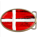Denmark Grunge Danish Flag Belt Buckle. Code A0025